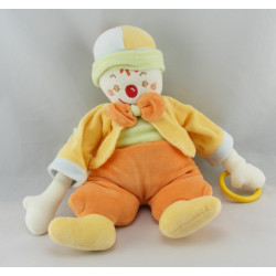 Doudou semi plat Clown rouge orange Sucre d'orge