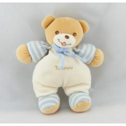Doudou Ours blanc rayé bleu avec bonnet Takinou