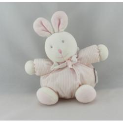 Doudou plat lapin blanc rose NICOTOY