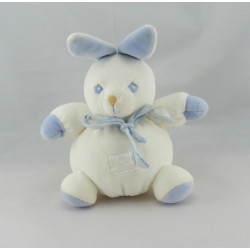 Doudou lapin blanc bleu TARTINE ET CHOCOLAT