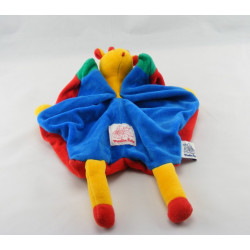 Doudou girafe jaune salopette bleu vert rouge MOULIN ROTY