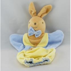 Doudou plat triangle lapin bleu jaune mon premier NOUNOURS