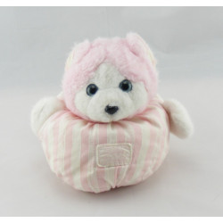 Doudou chat ours blanc rayé rose TARTINE ET CHOCOLAT