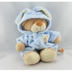 Grand Doudou ours déguisé en lapin bleu NICOTOY