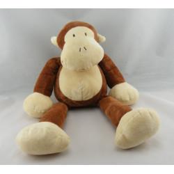 Doudou singe tee shirt rayé marron NICOTOY
