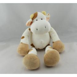 Doudou Vache blanche taches marron Nicotoy