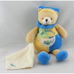 Doudou plat ours vert bleu jaune Les Bonbons BABY NAT
