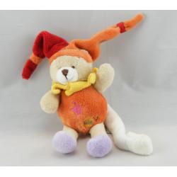 Doudou ours arlequin rouge jaune attache tétine BABY NAT