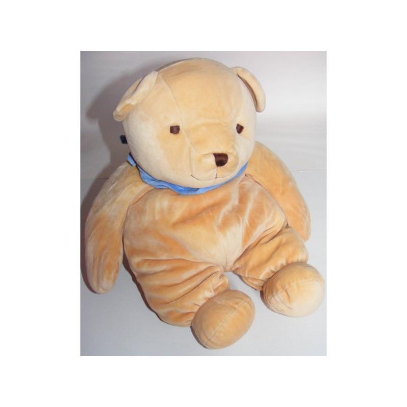 Doudou ours beige foulard bleu NICOTOY