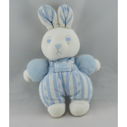 Doudou lapin blanc salopette rayé bleu TARTINE ET CHOCOLAT