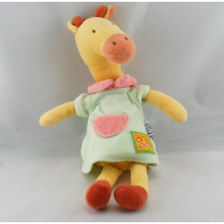 Doudou girafe robe verte jaune Les Loustics MOULIN ROTY