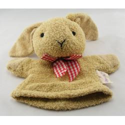 Doudou marionnette mouton blanc noeud vichy rouge NOUKIE'S