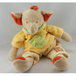 Doudou éléphant beige rouge jaune vert JOLLYBABY