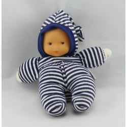 Doudou poupon bébé bleu marine col bateau COROLLE