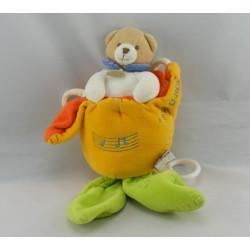 Doudou et compagnie musical ours dans une fleur jaune orange