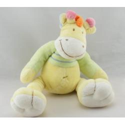 Doudou girafe ane cheval jaune vert Mots d'enfants