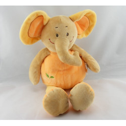 Doudou plat éléphant orange Safari DOUKIDOU