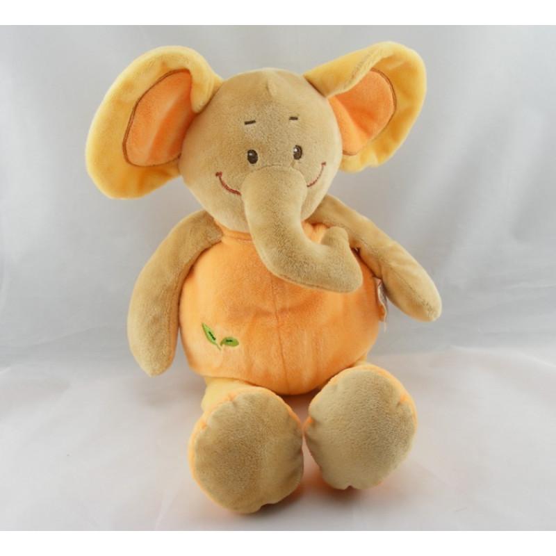 Doudou plat éléphant orange Safari DOUKIDOU