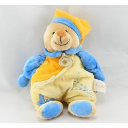 Doudou ours bleu jaune orange papillon mouchoir BABY NAT