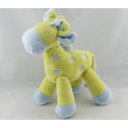 Doudou plat Girafe vert bleu MOTS D'ENFANTS