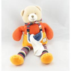 Doudou et compagnie pantin ours orange rayé  longues jambes mouchoir