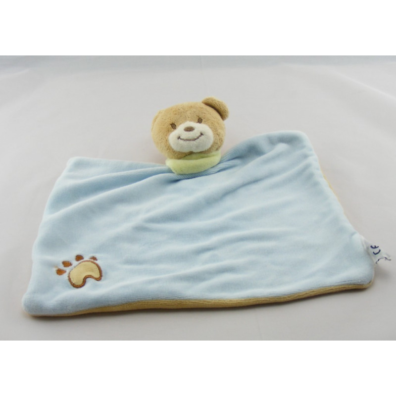 Doudou plat ours bleu foulard vert AMTOYS BENGY