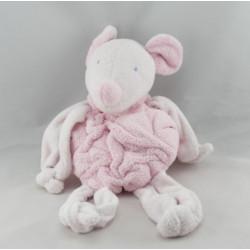 Doudou souris blanche rose TARTINE ET CHOCOLAT