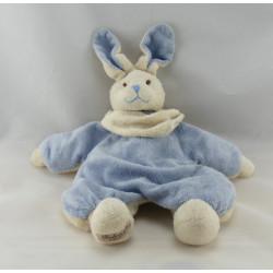 Doudou semi plat lapin bleu blanc éponge BUKOWSKI
