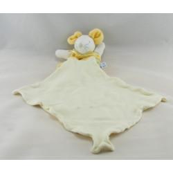 Doudou souris jaune vert avec mouchoir SUCRE D'ORGE