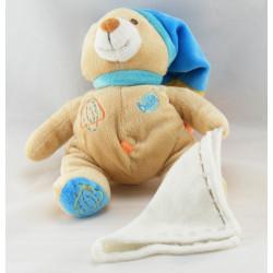 Doudou ours les bonbons vert bleu jaune mouchoir BABY NAT