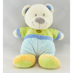 Doudou plat rond ours bleu vert jaune coeur NICOTOY