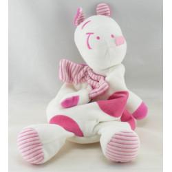 Doudou plat vache girafe rose SIPLEC