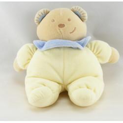 Doudou ours arlequin jaune col bleu TEX