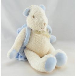 Doudou musical ours blanc sac à dos bleu SUCRE D'ORGE