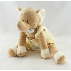 Doudou éléphant beige salopette jaune GERCA NEUF