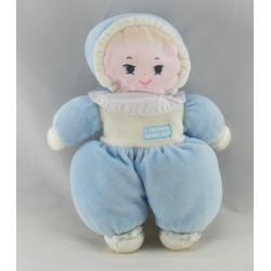 Doudou poupée chiffon blanc bleu BOULGOM