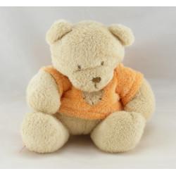 Doudou ours blanc tenue orange foulard rayé NICOTOY
