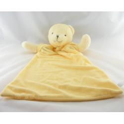 Doudou plat rose jaune ours avec mouchoir couverture TCM