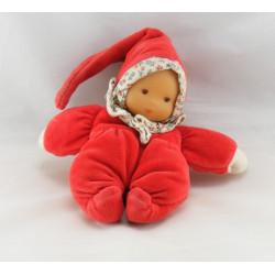 Doudou bébé poupée rouge col carreaux COROLLE 1997