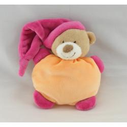 Doudou semi plat ours orange bonnet rose coeur NATTOU