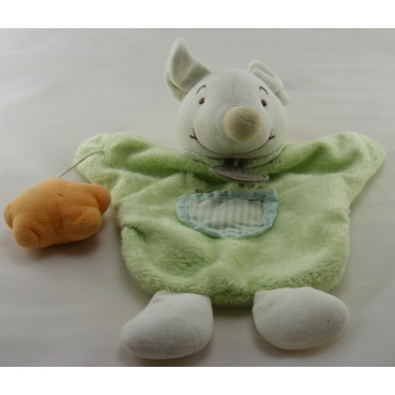Doudou plat marionnette souris verte avec étoile Baby nat