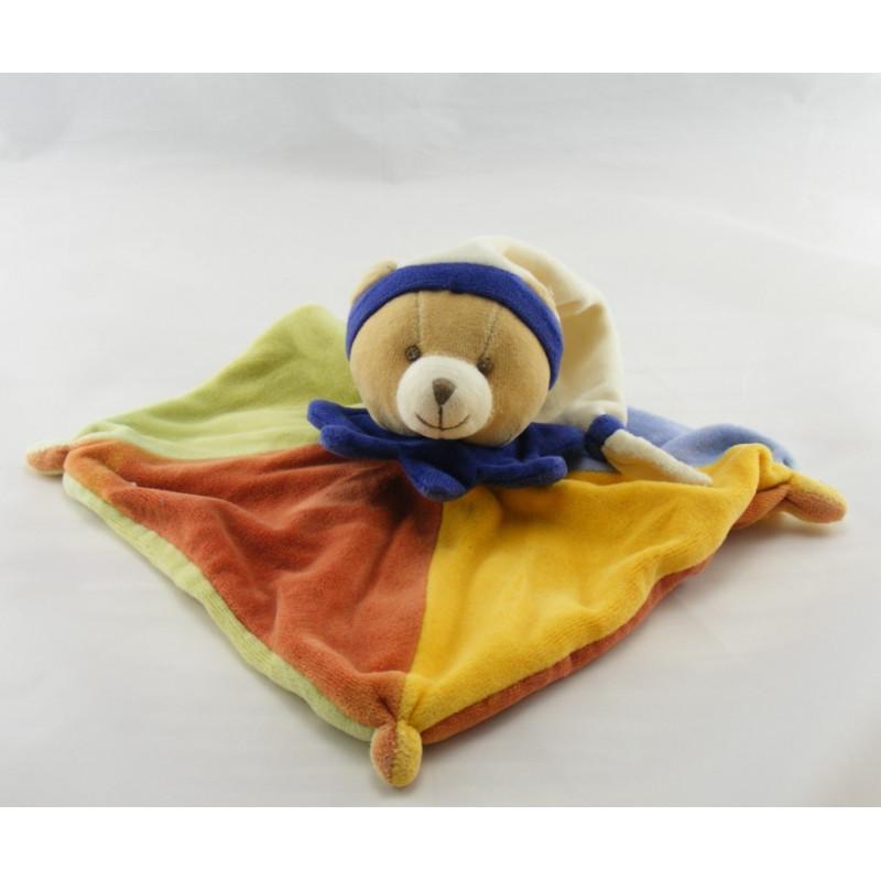 Doudou et compagnie Plat Ours arlequin bleu vert orange