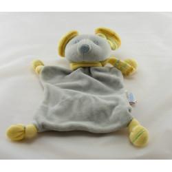 Doudou marionnette souris blanche rayure grise BELLODOUX