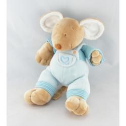 Doudou plat souris bleu rayé coeur MOTS D'ENFANTS