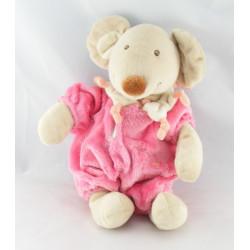 Doudou lapin combinaison rose fleur TEX