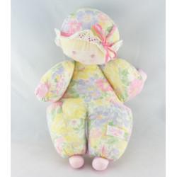 Doudou poupée chiffon rose carreaux robe fleurs couettes COROLLE
