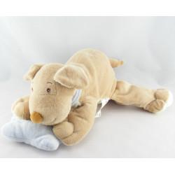 Doudou éléphant beige salopette jaune GERCA