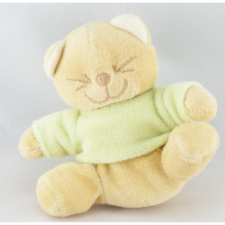 Doudou chat Patou vert foulard orange BENGY