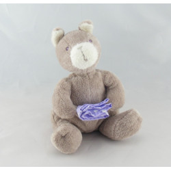 Doudou ours blanc noeud rose SERGENT MAJOR