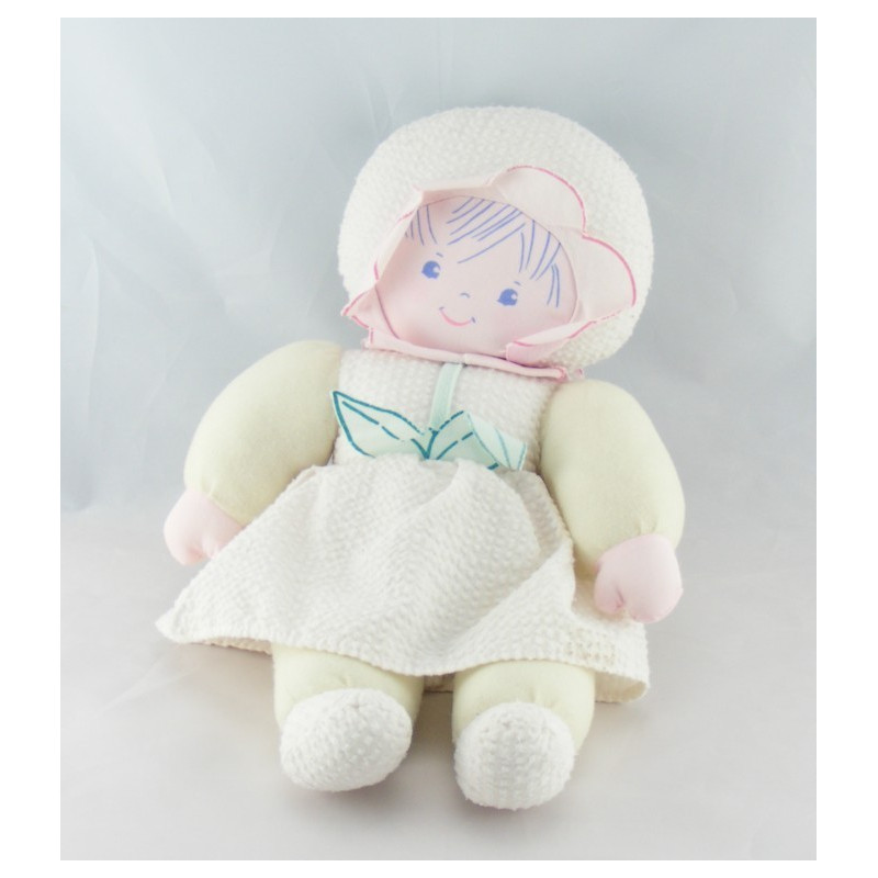 Doudou poupée chiffon fleurs rose jaune bleu chapeau COROLLE